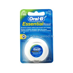 Oral-B Essential floss mint waxed нить зубн. вощ. мят. конт.пластик.50м N1 Oral-B Laboratories ИРЛАНДИЯ
