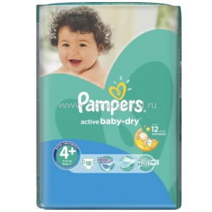 Pampers Active Baby maxi plus подгузник д/дет. 9-16 кг N18 Procter & Gamble РОССИЯ