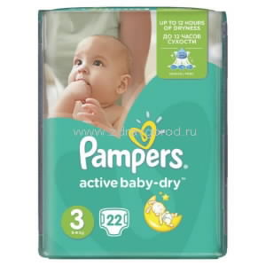 Pampers Active Baby midi подгузник д/дет. 4-9 кг [3] N22 Procter & Gamble ПОЛЬША