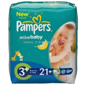 Pampers Active Baby midi plus подгузник д/дет. 5-10 кг 3+ N21 Procter & Gamble РОССИЯ