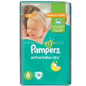 Pampers Active Baby-Dry extra large подгузник д/дет. [6] 15+кг N16 Procter & Gamble ПОЛЬША