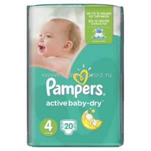 Pampers Active Baby maxi Dry подгузник д/дет. 7-14 кг [4] N20 Procter & Gamble РОССИЯ